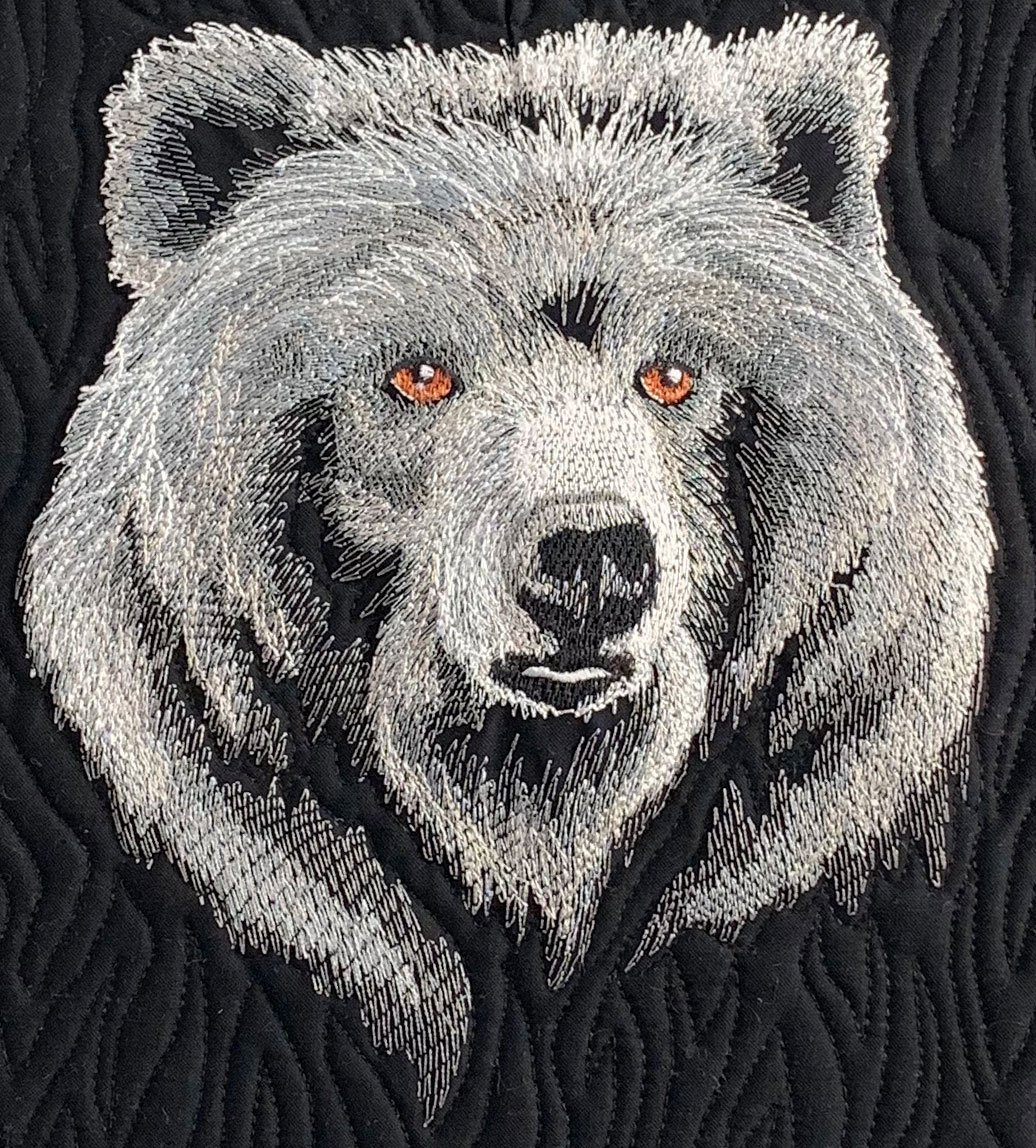 Embroidered Panel Majestic Bear Black