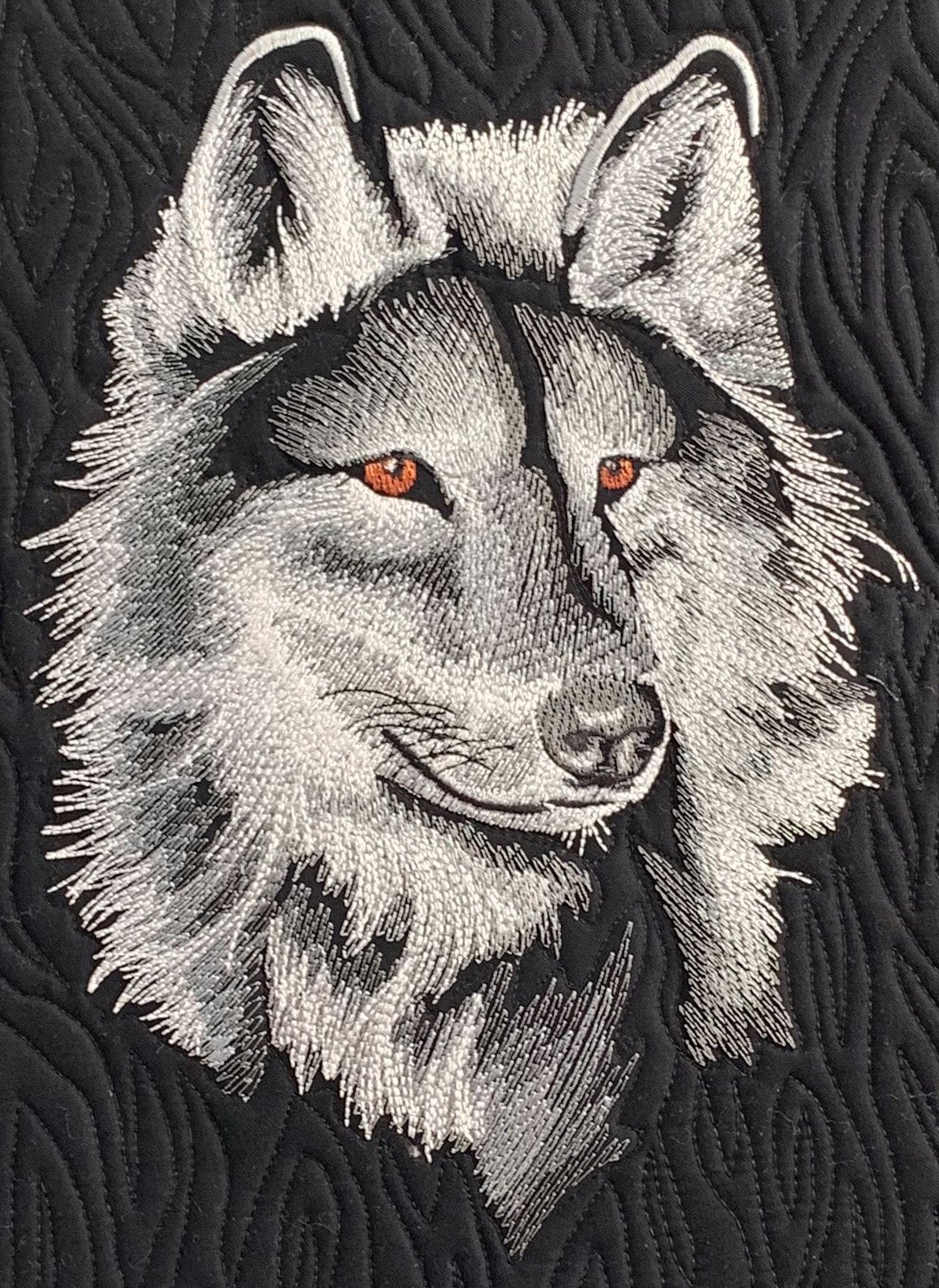 Embroidered Panel Majestic Wolf Black