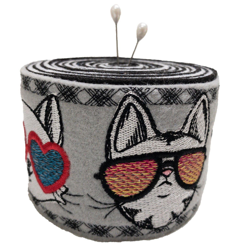 Embroidered Felt Pincushion Meow Trio