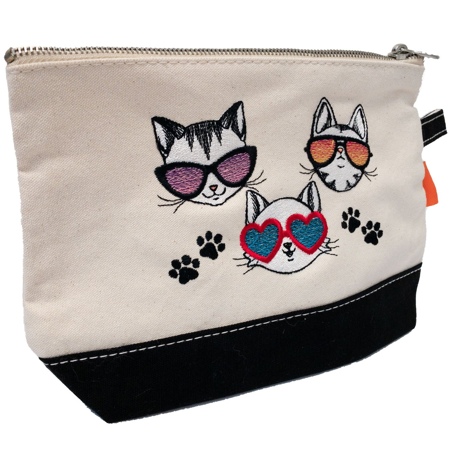 Embroidered Zip Pouch Black Meow Trio