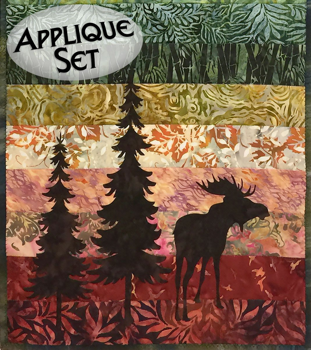 Mini Moose & Trees Laser Cut Applique Set