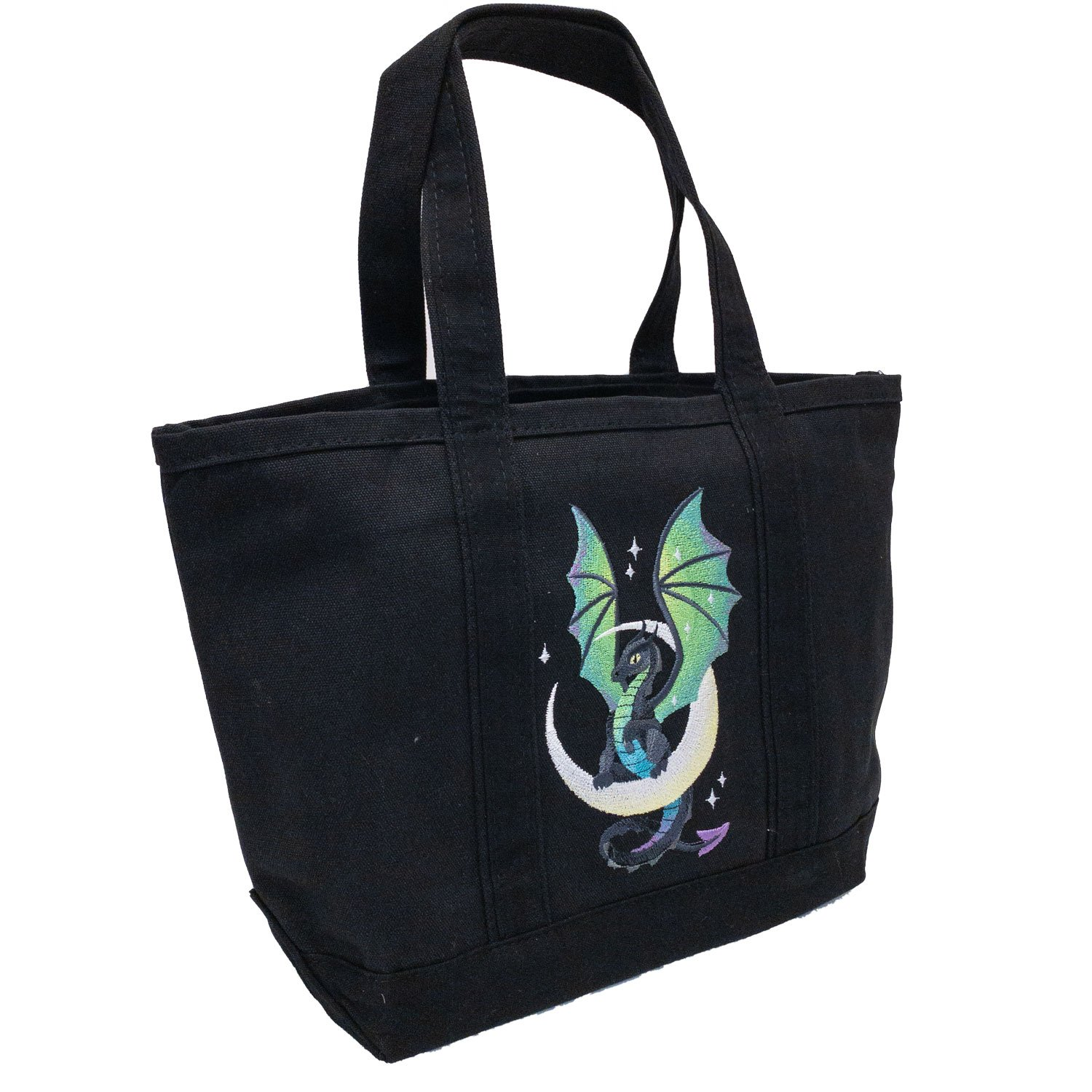 Embroidered Canvas Tote Moon Dragon