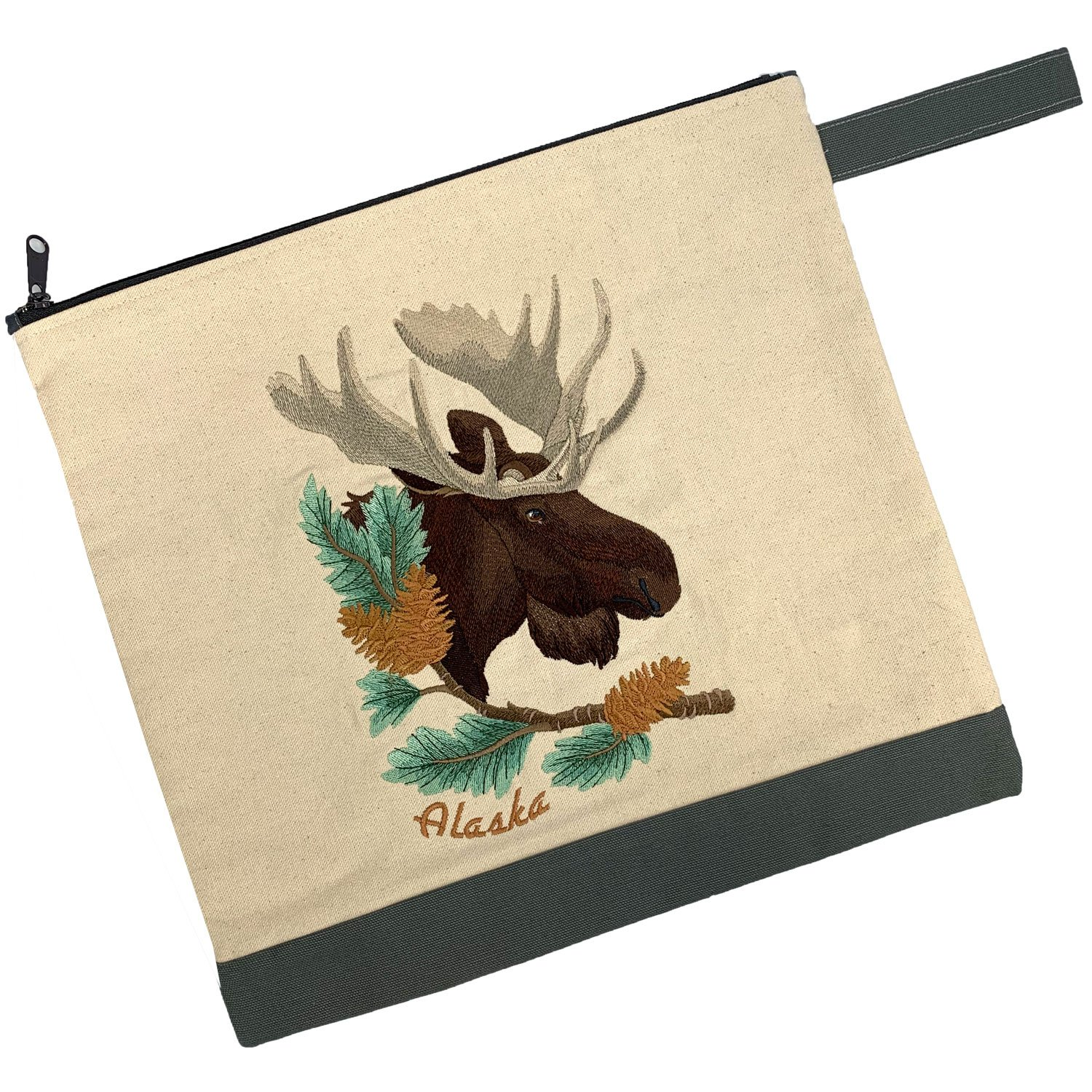 Embroidered Zip Pouch Handmade Moose in Pine