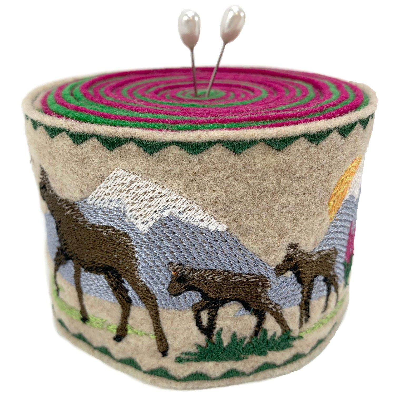 Embroidered Felt Pincushion Moose Trio