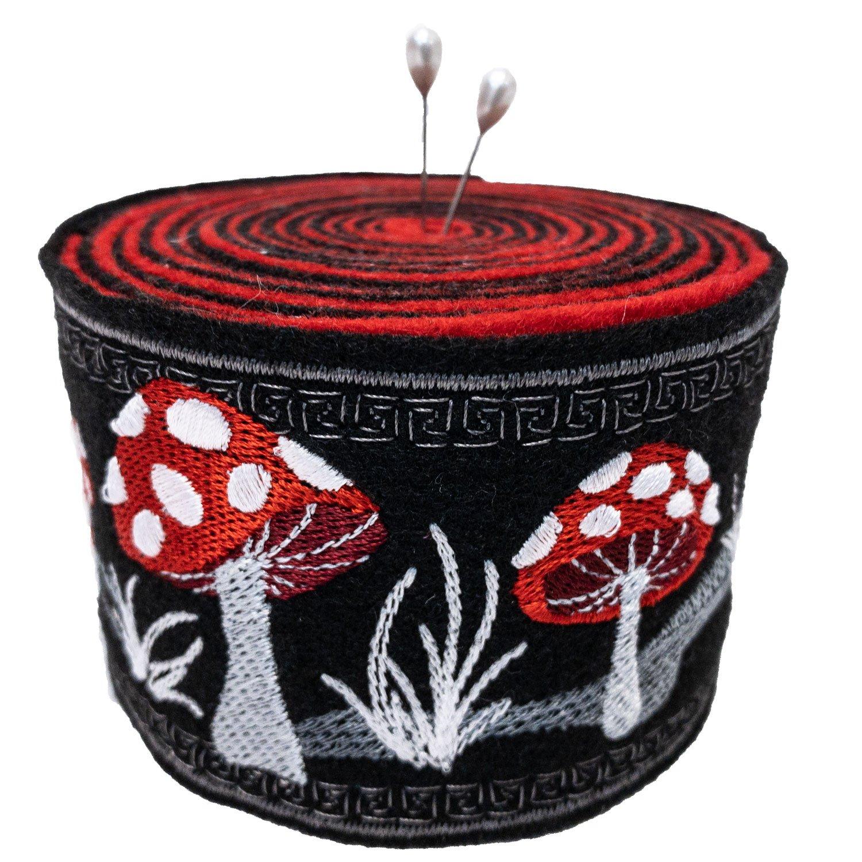 Embroidered Felt Pincushion Mushrooms