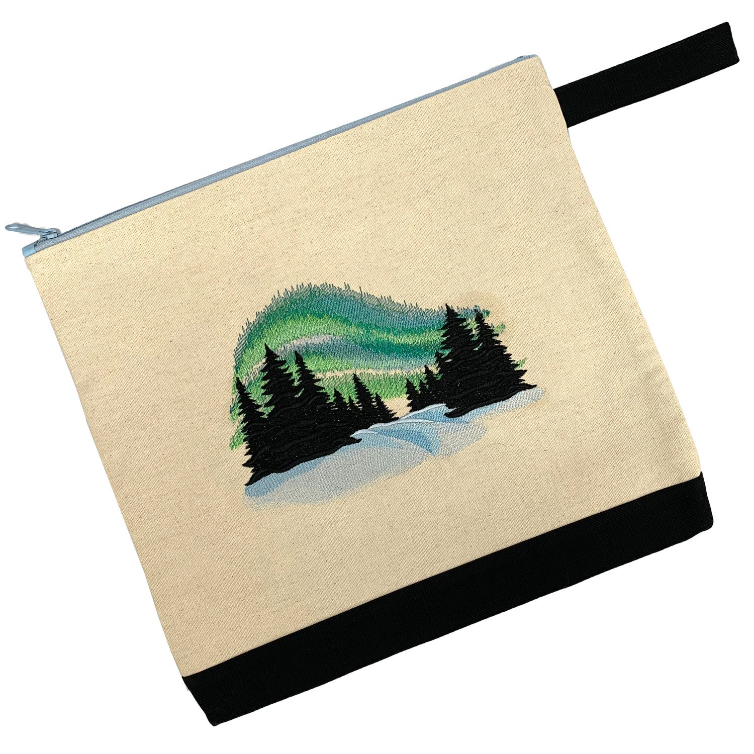 Embroidered Zip Pouch Handmade Northern Lights