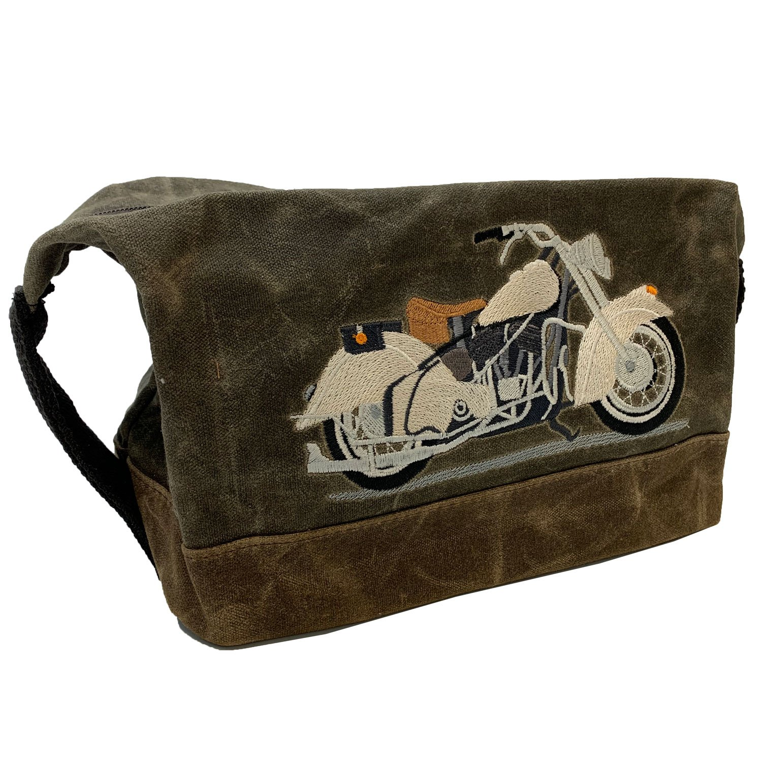 Embroidered Waxed Canvas Bag Open Road Motorcycle