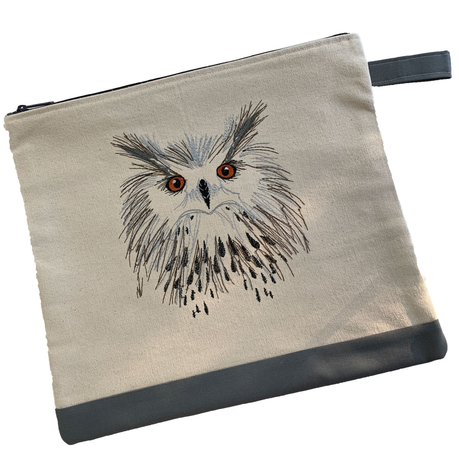 Embroidered Zip Pouch Handmade Owl