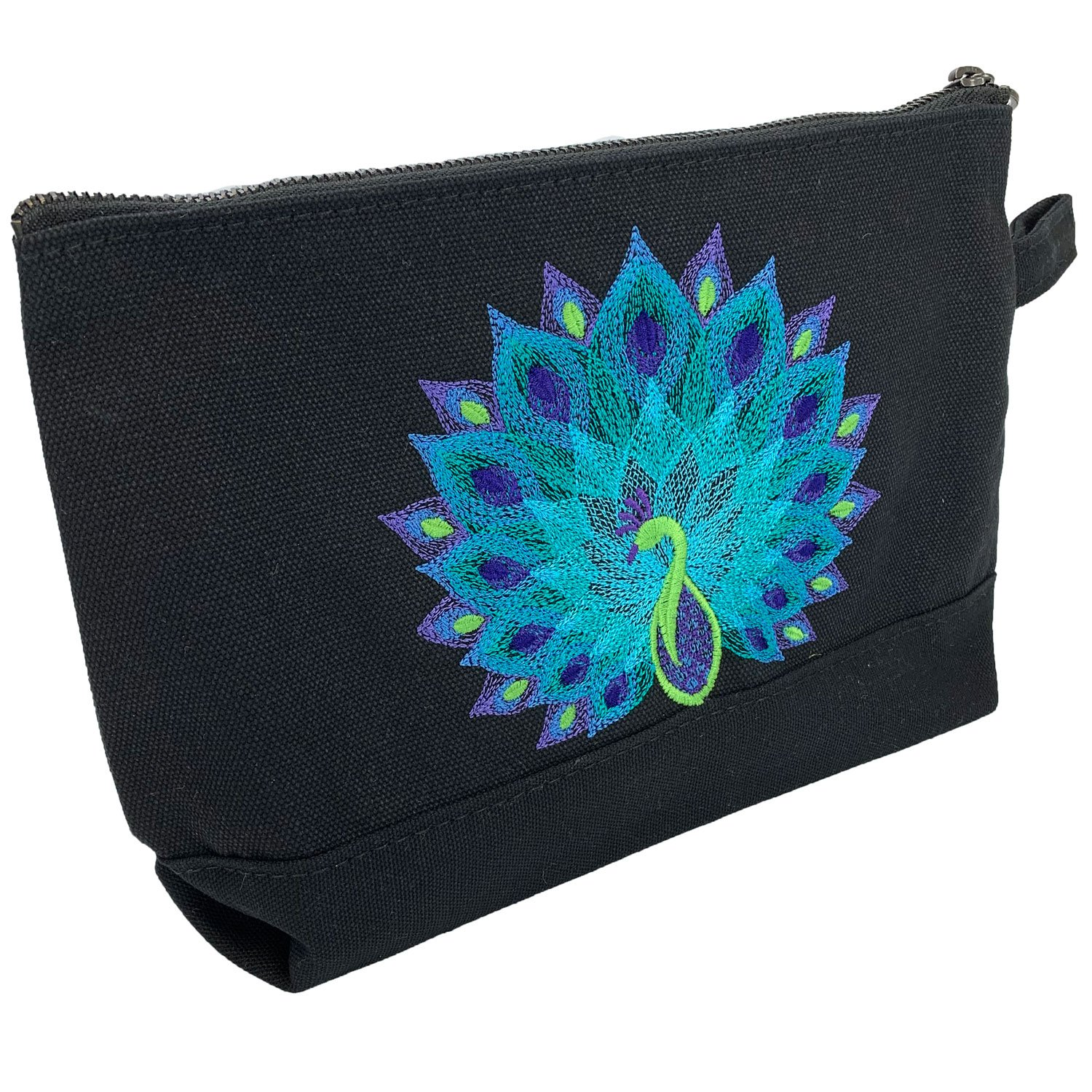 Embroidered Zip Pouch Black Peacock