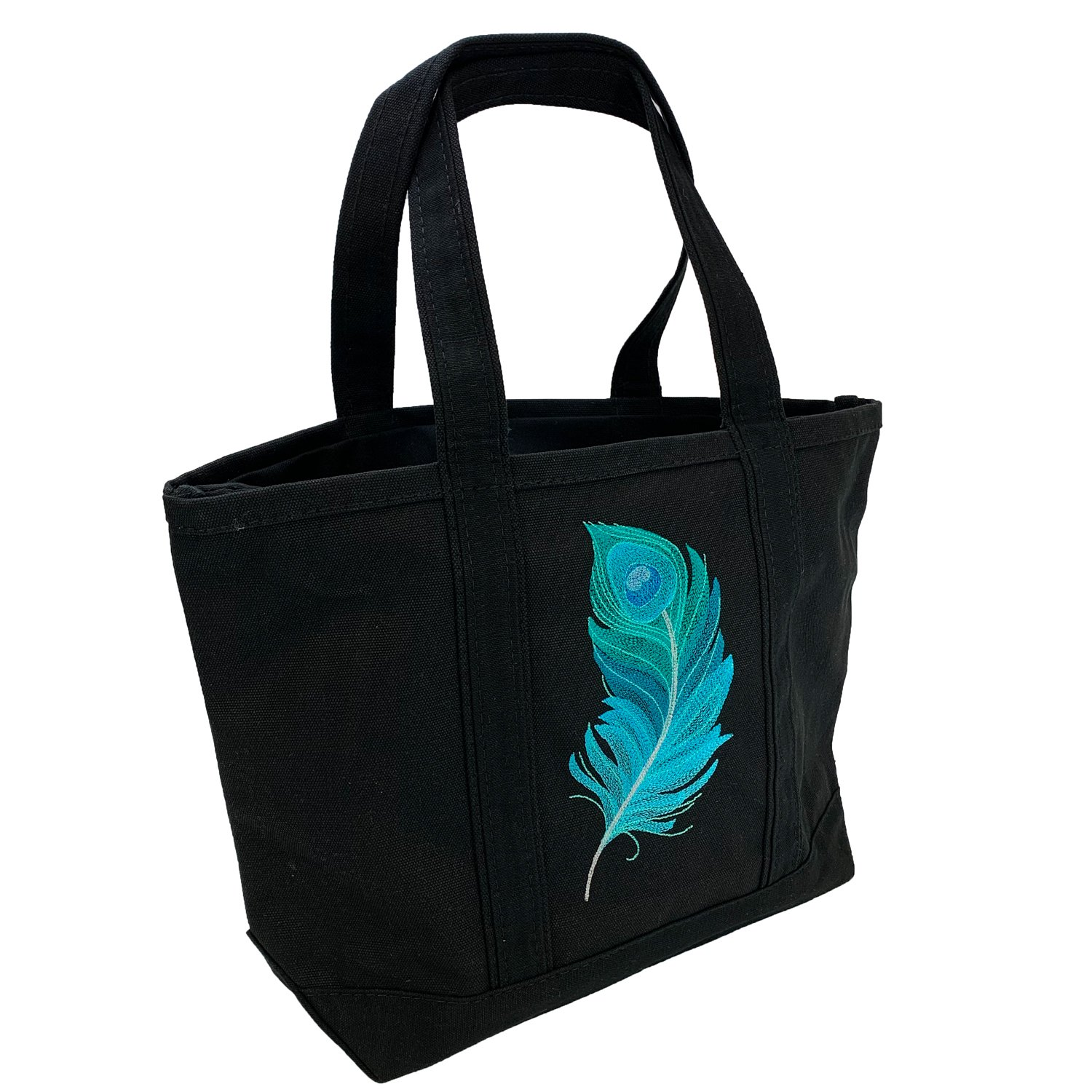 Embroidered Canvas Tote Peacock Feather