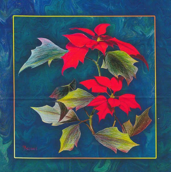 Teresa Ascone Poinsettias Fabric Panel