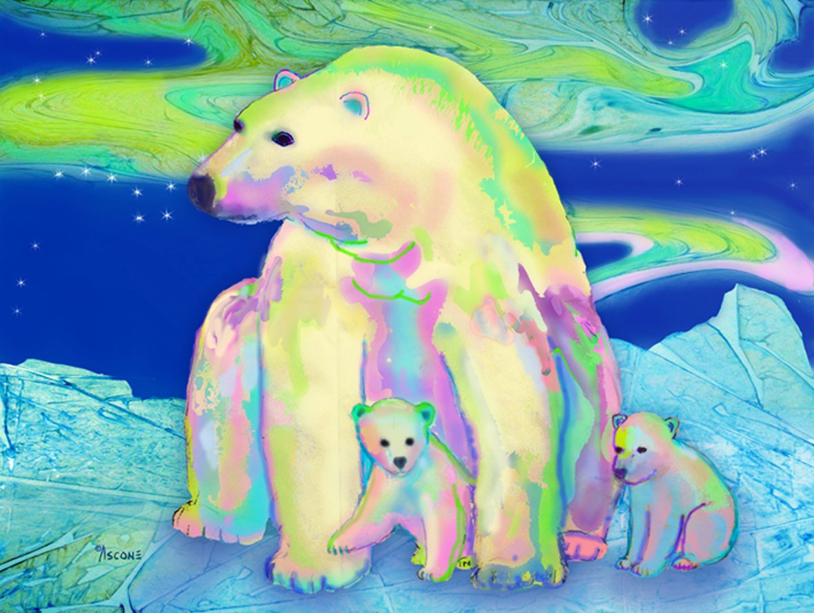 Polar Bear Aurora Fabric Panel by Teresa Ascone