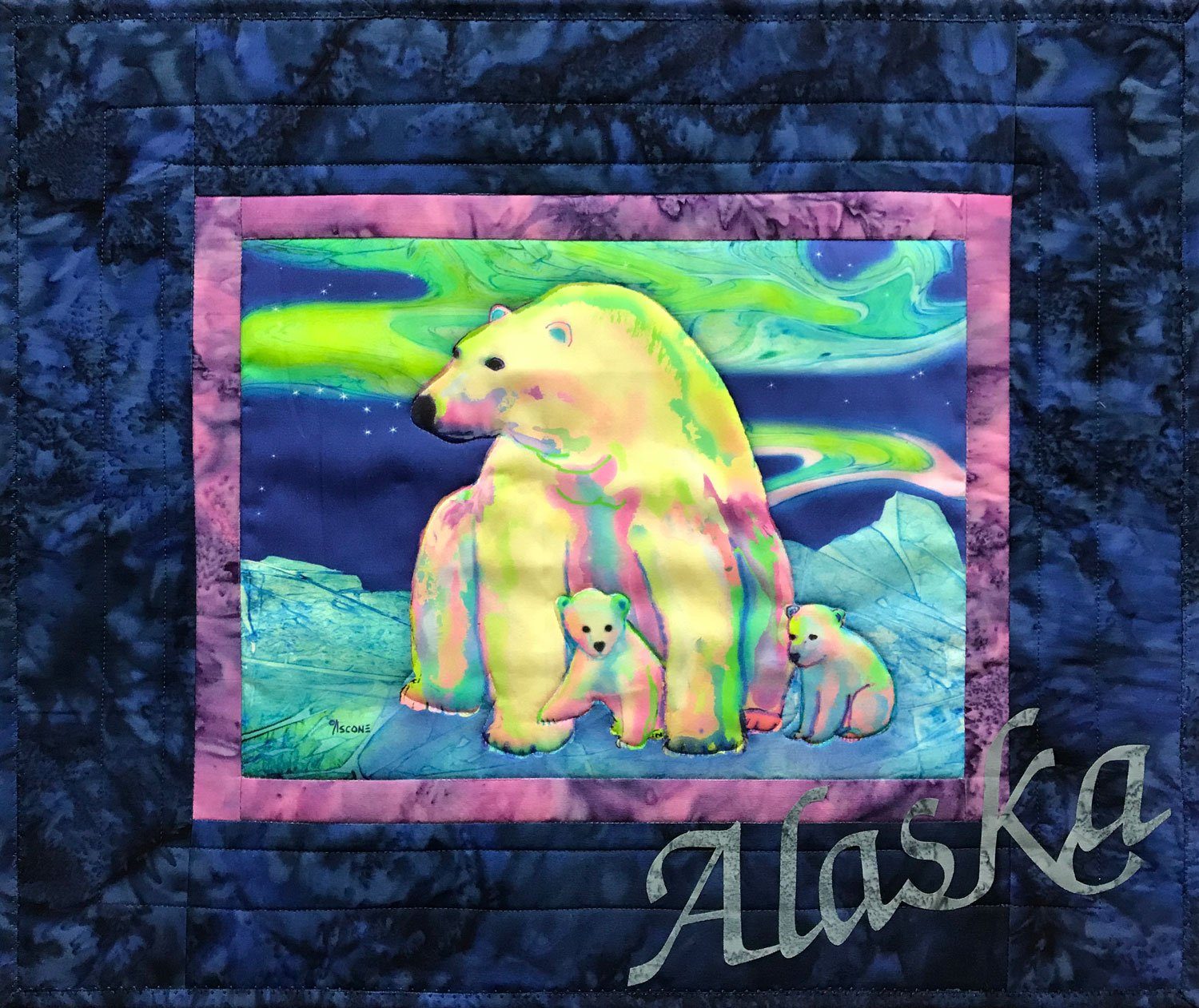 Polar Bear Aurora Fabric Art Quilt Kit