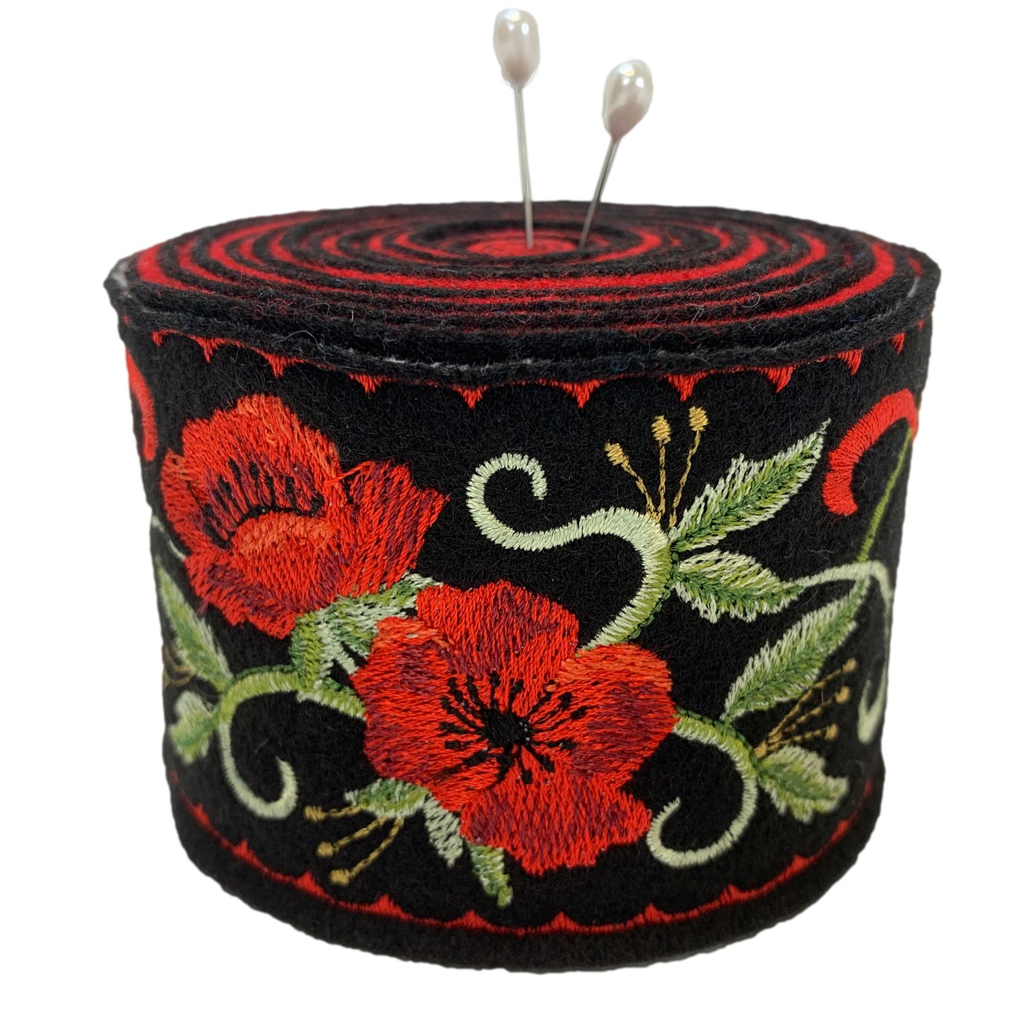 Embroidered Felt Pincushion Poppies