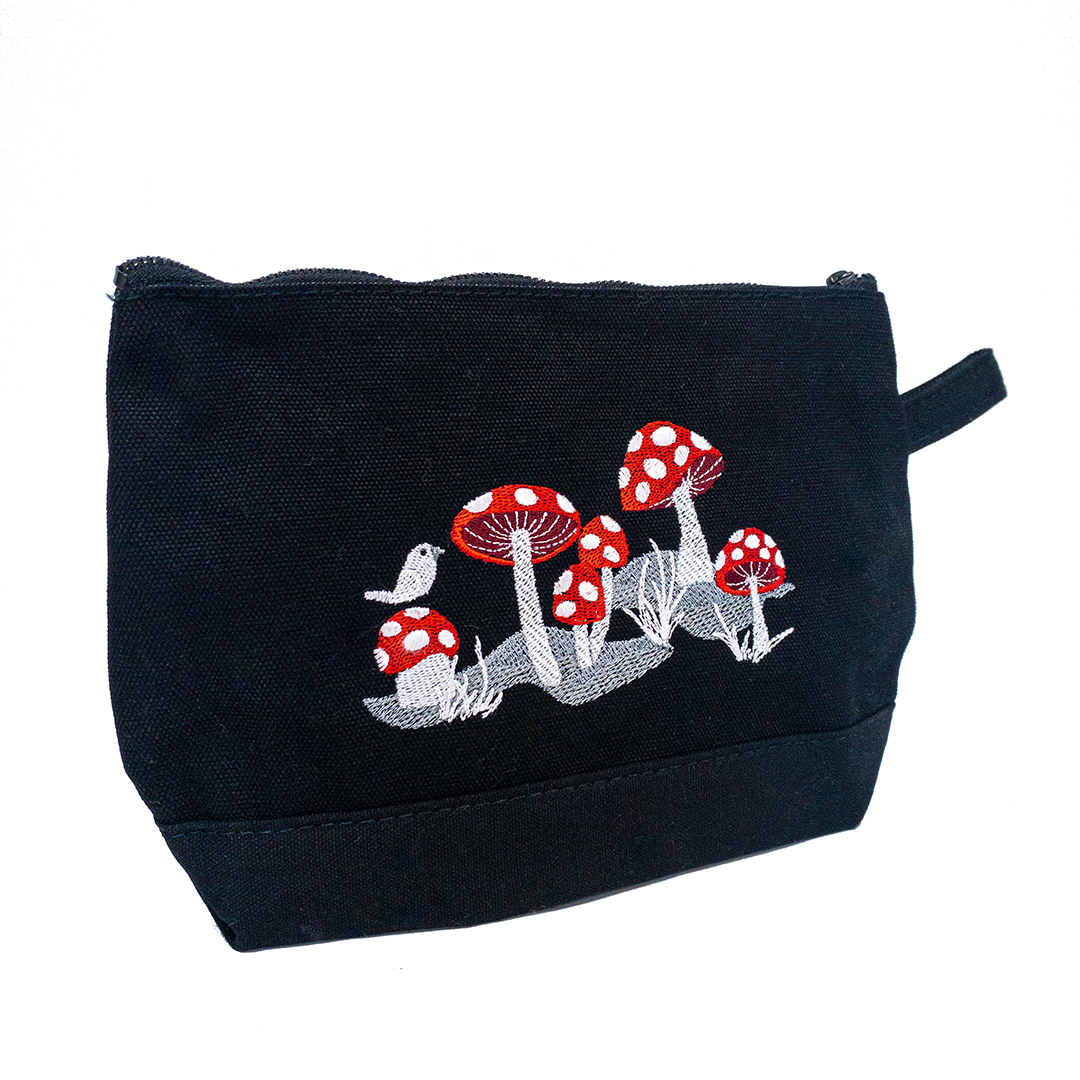 Embroidered Zip Pouch Black Mushrooms