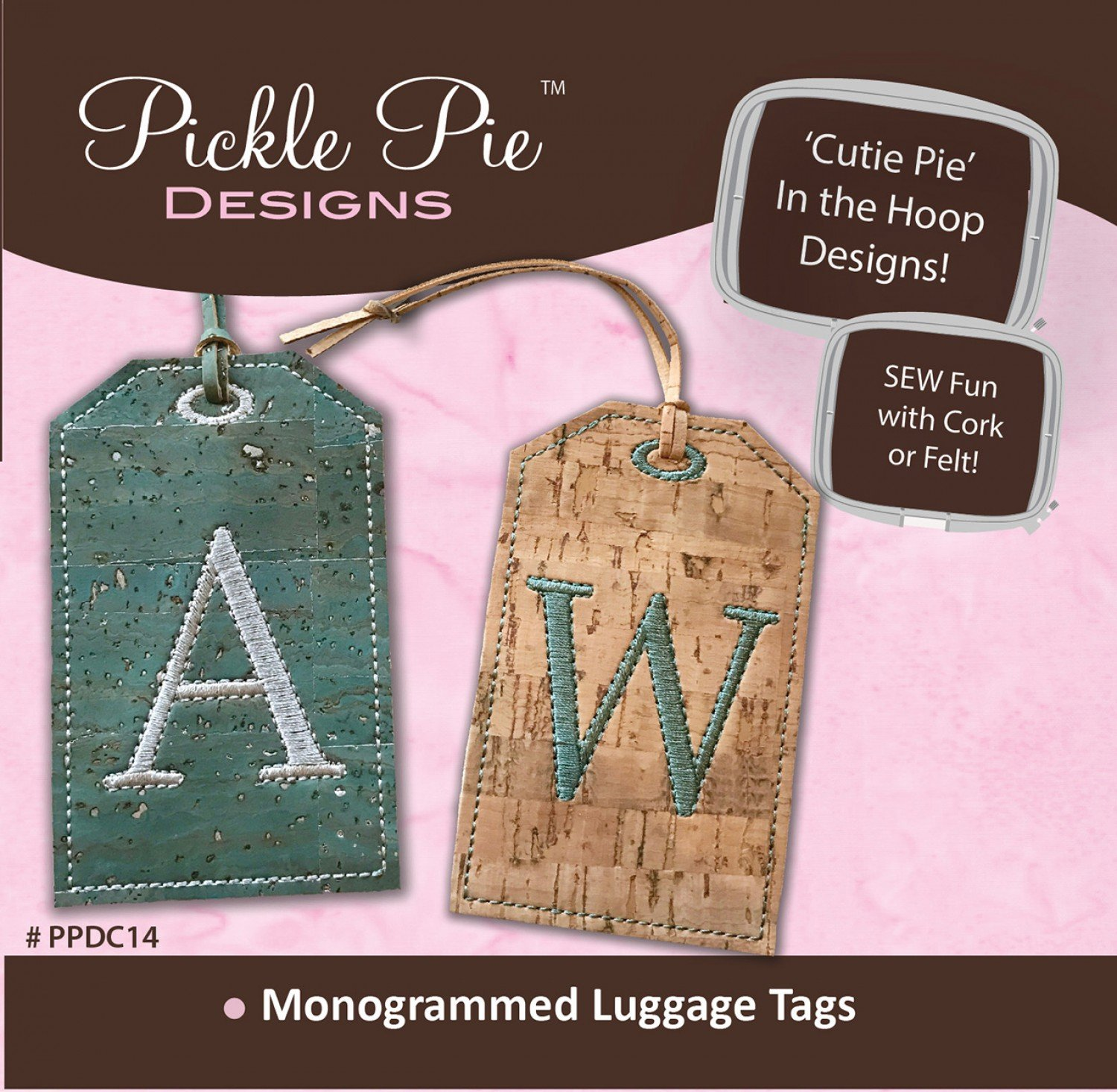 Monogrammed Cork Luggage Tags