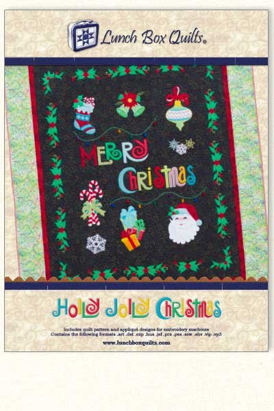 CD Holly Jolly Christmas Embroidery Applique Quilt
