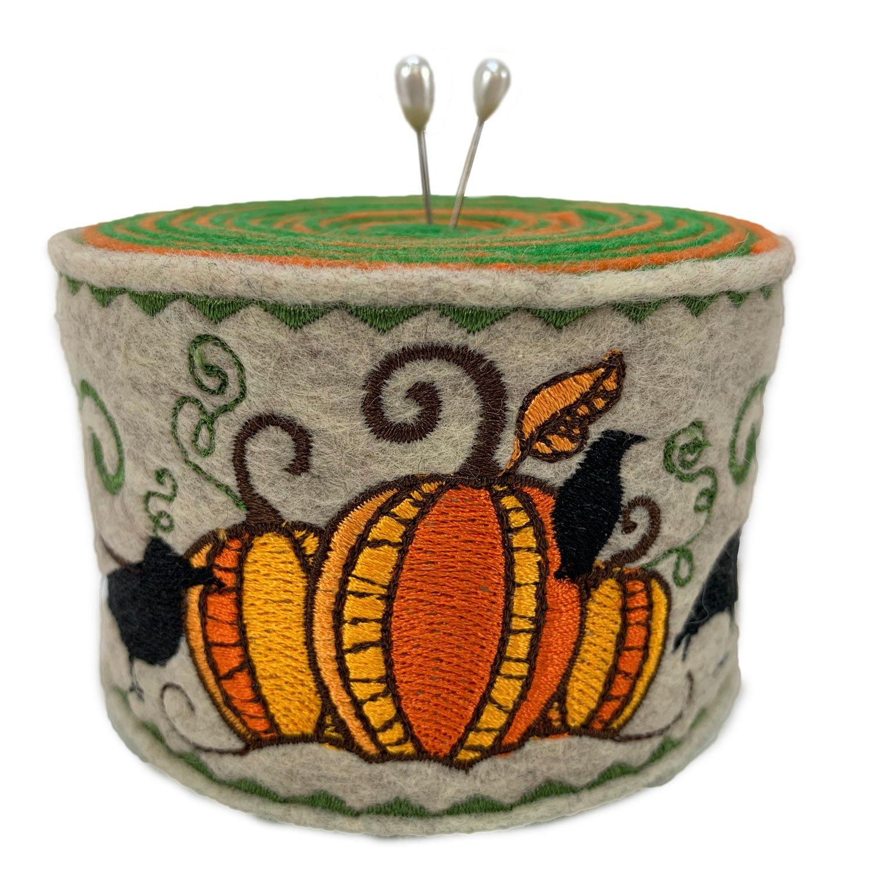 Embroidered Felt Pincushion Pumpkins & Ravens