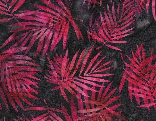 Bali Batik Palm Leaves Q2104-97 Raspberry