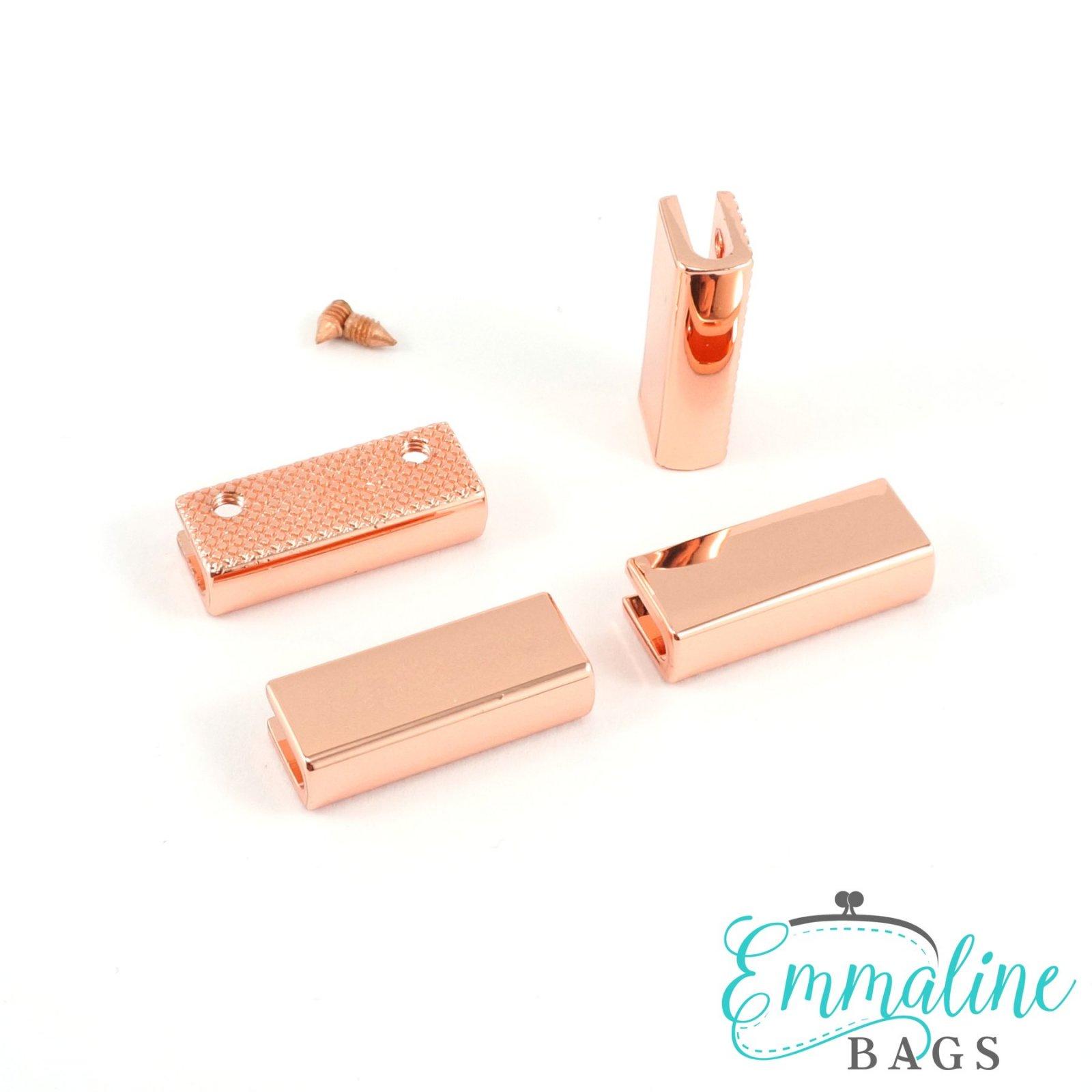 Strap End Caps Rectangle 4 Pack Copper & Gunmetal