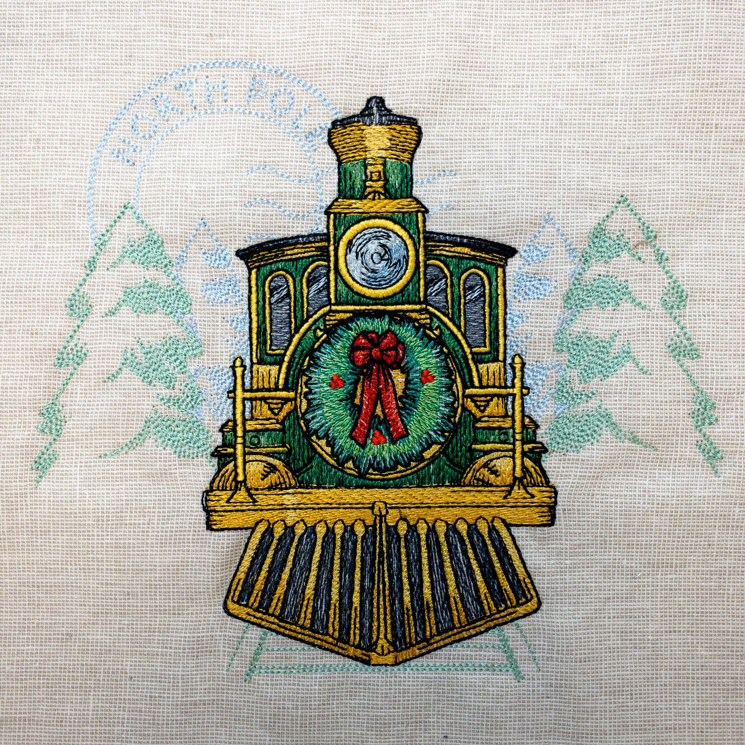 Retro Christmas Train Embroidered Panel