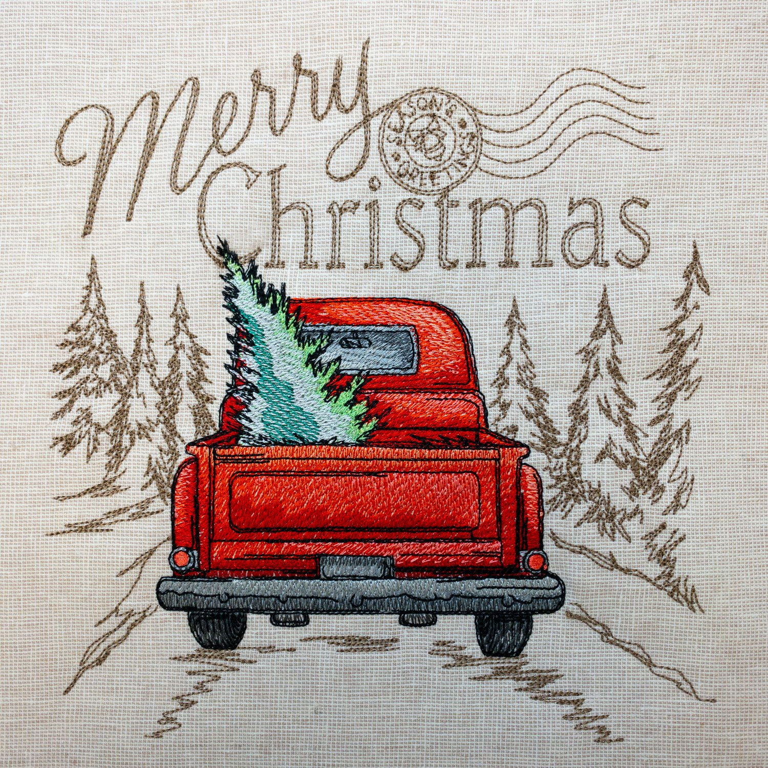 Retro Christmas Truck Embroidered Panel