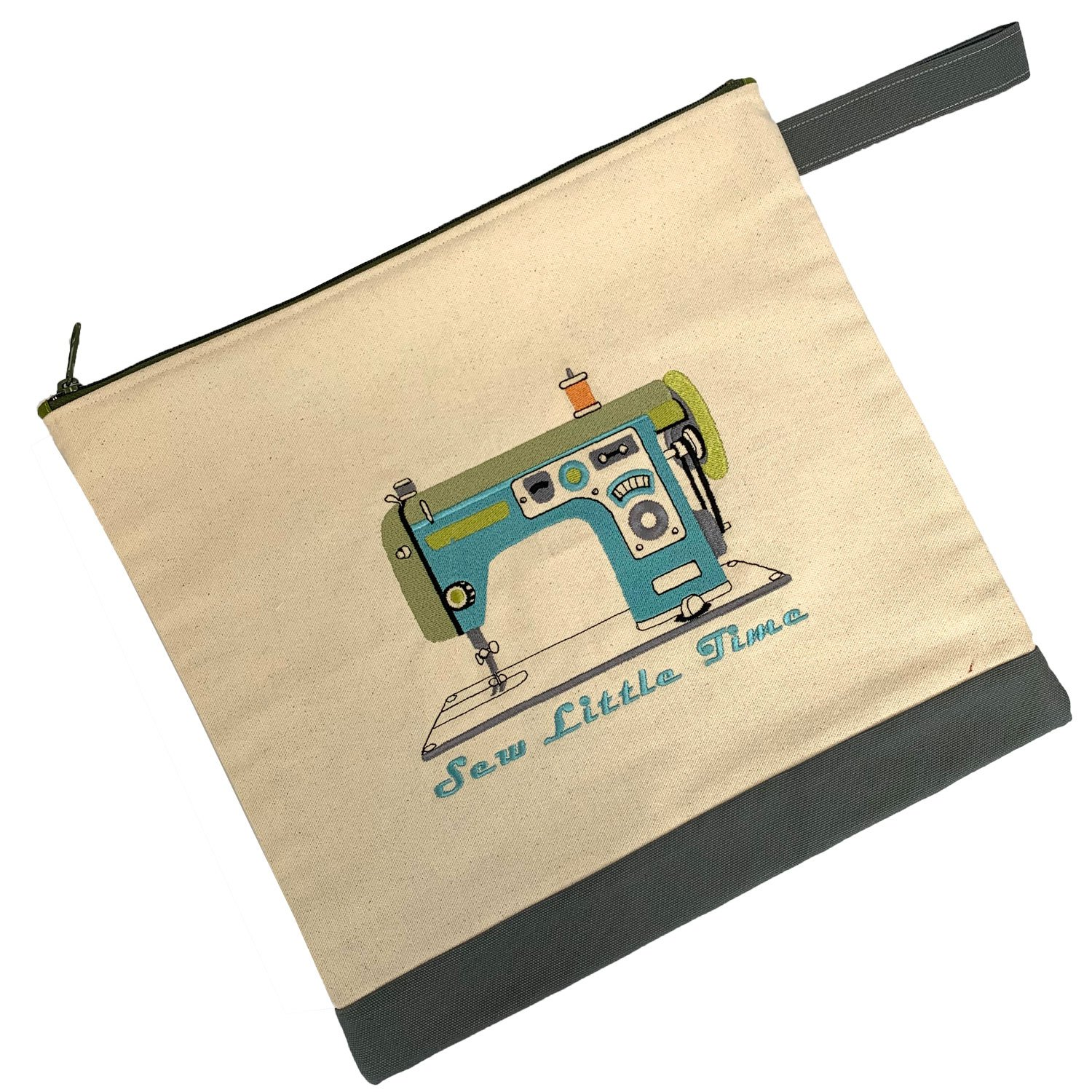 Embroidered Zip Pouch Handmade Retro Machine