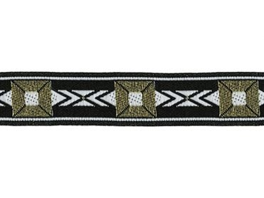 5/8 Woven Trim Jacquard Poly/Metallic - Black Gold White