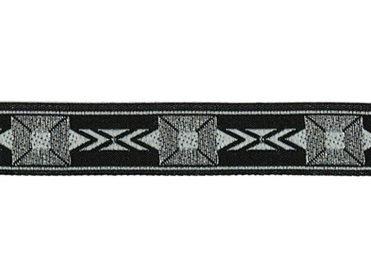 5/8 Woven Trim Jacquard Poly/Metallic - Black Silver White