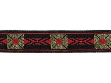 5/8 Woven Trim Jacquard Poly/Metallic - Black Gold Red