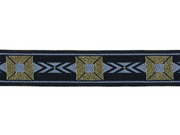 5/8 Woven Trim Jacquard Poly/Metallic - Black Gold Sky Blue