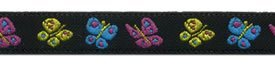 7/16 Woven Trim Poly Jacquard Black Yellow Turquoise Pink Butterflies
