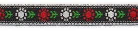7/16 Woven Trim Poly Jacquard Black White Red Green