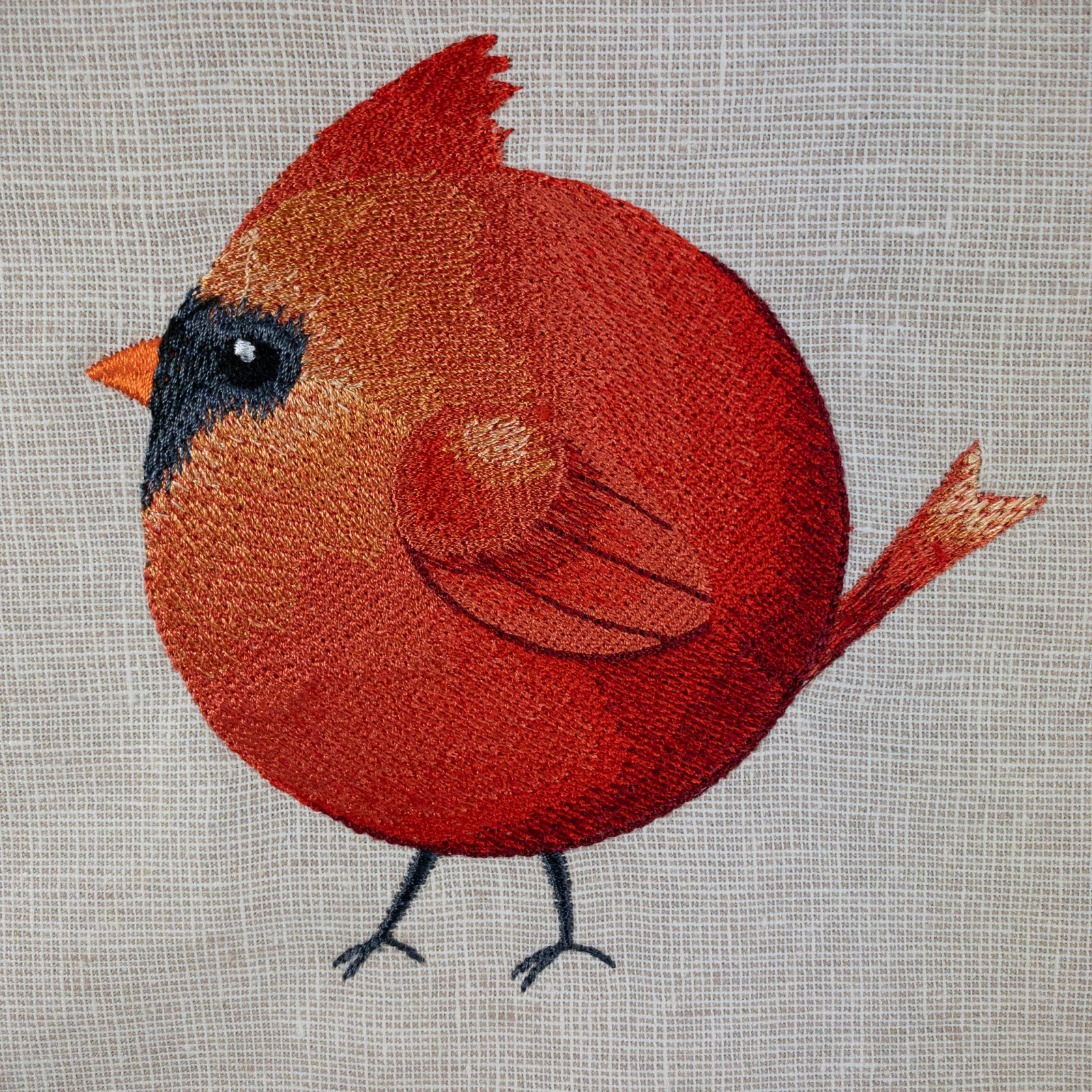 Roly-Poly  Cardinal Embroidered Panel