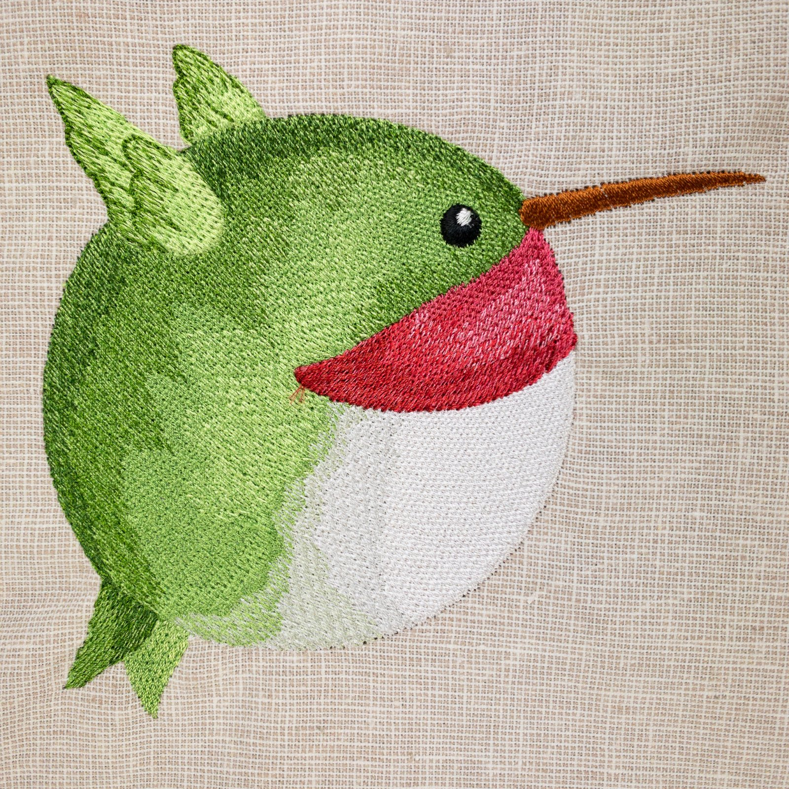 Roly-Poly Hummingbird Embroidered Panel