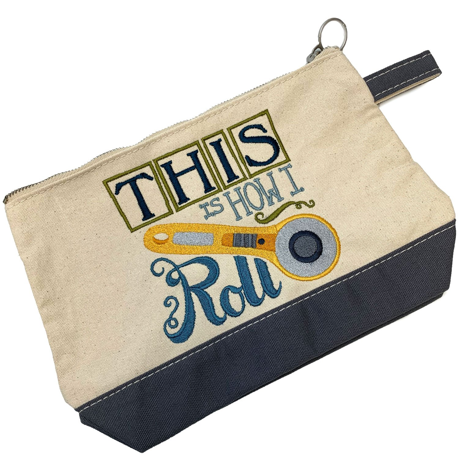 Embroidered Zip Pouch Grey Rotary Cutter