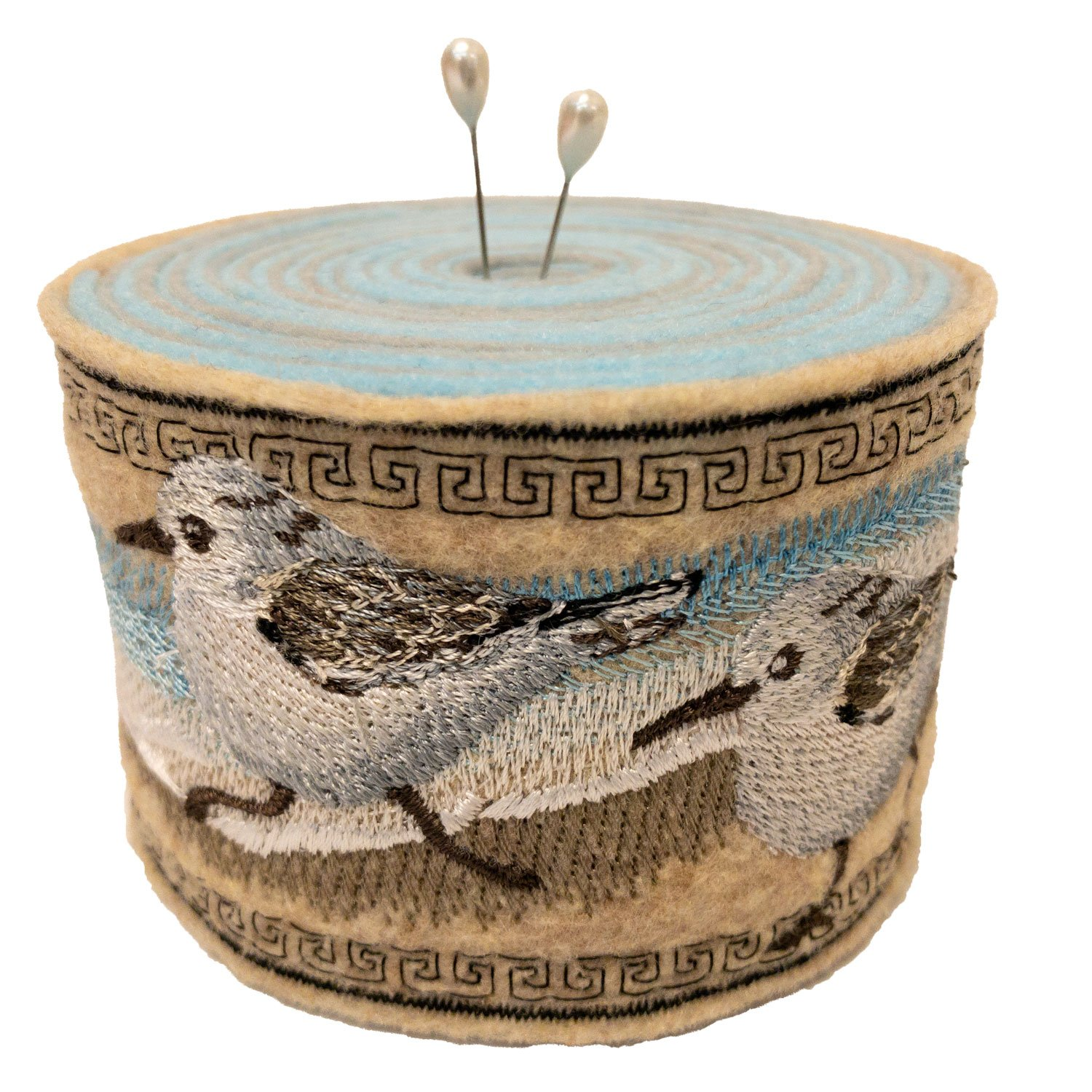Embroidered Felt Pincushion Sandpipers