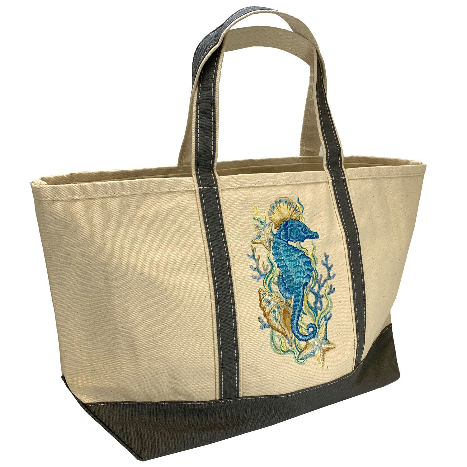 Embroidered Canvas Tote Large Seahorse