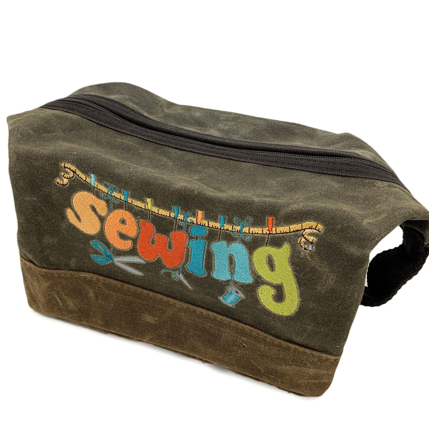 Embroidered Waxed Canvas Sewing Bag Olive