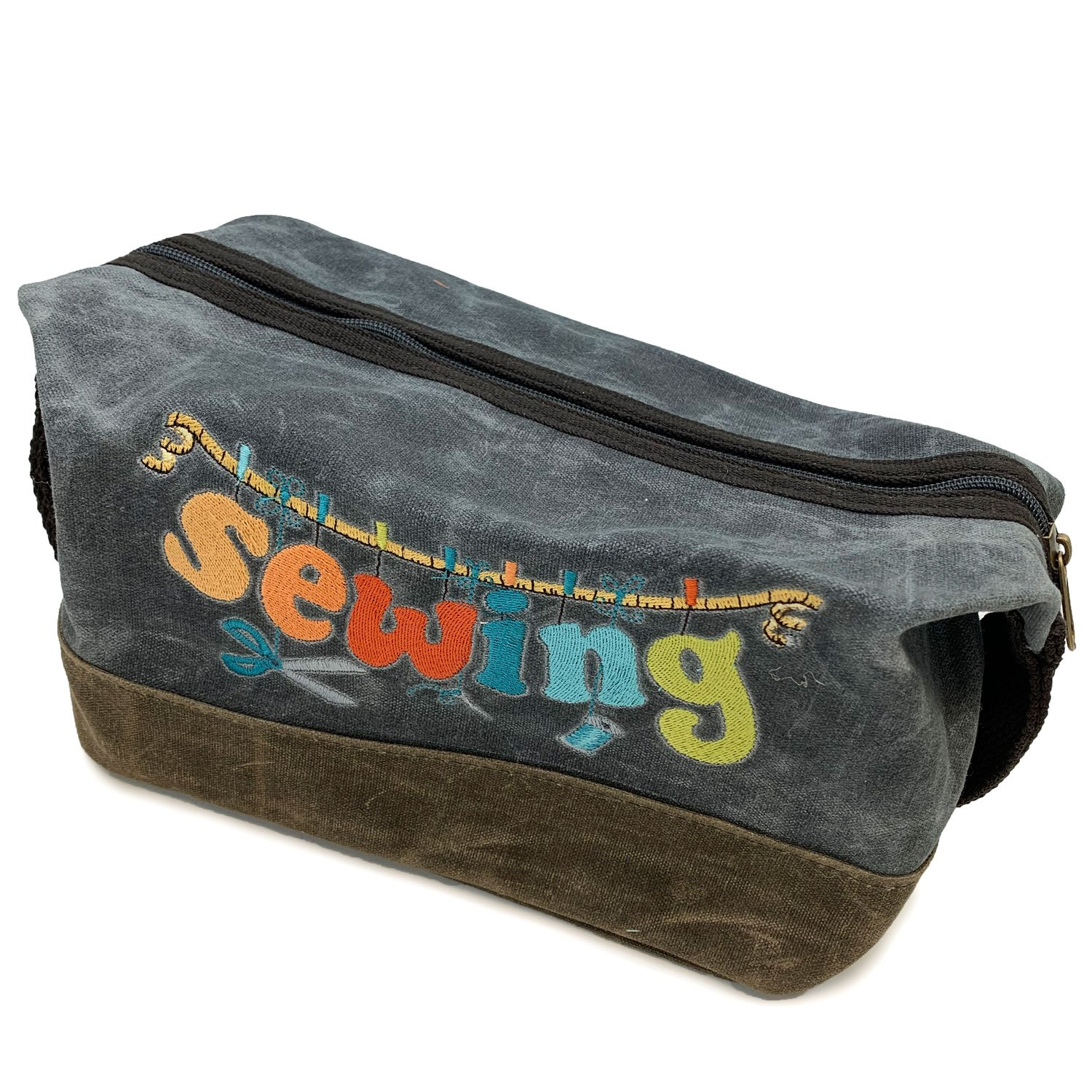 Embroidered Waxed Canvas Sewing Bag Slate