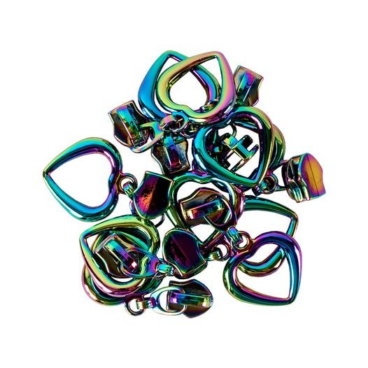 Zipper Sliders with Pulls Large Hollow Heart (10 pack) Size #5 - Rainbow