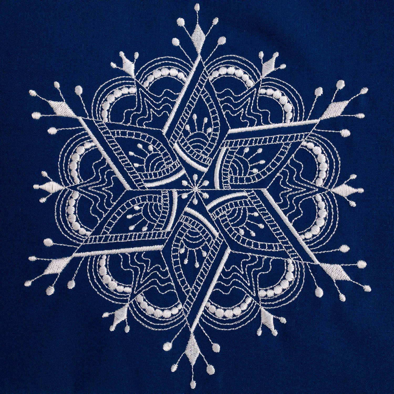 Snowflake 5 Embroidered Panel Royal