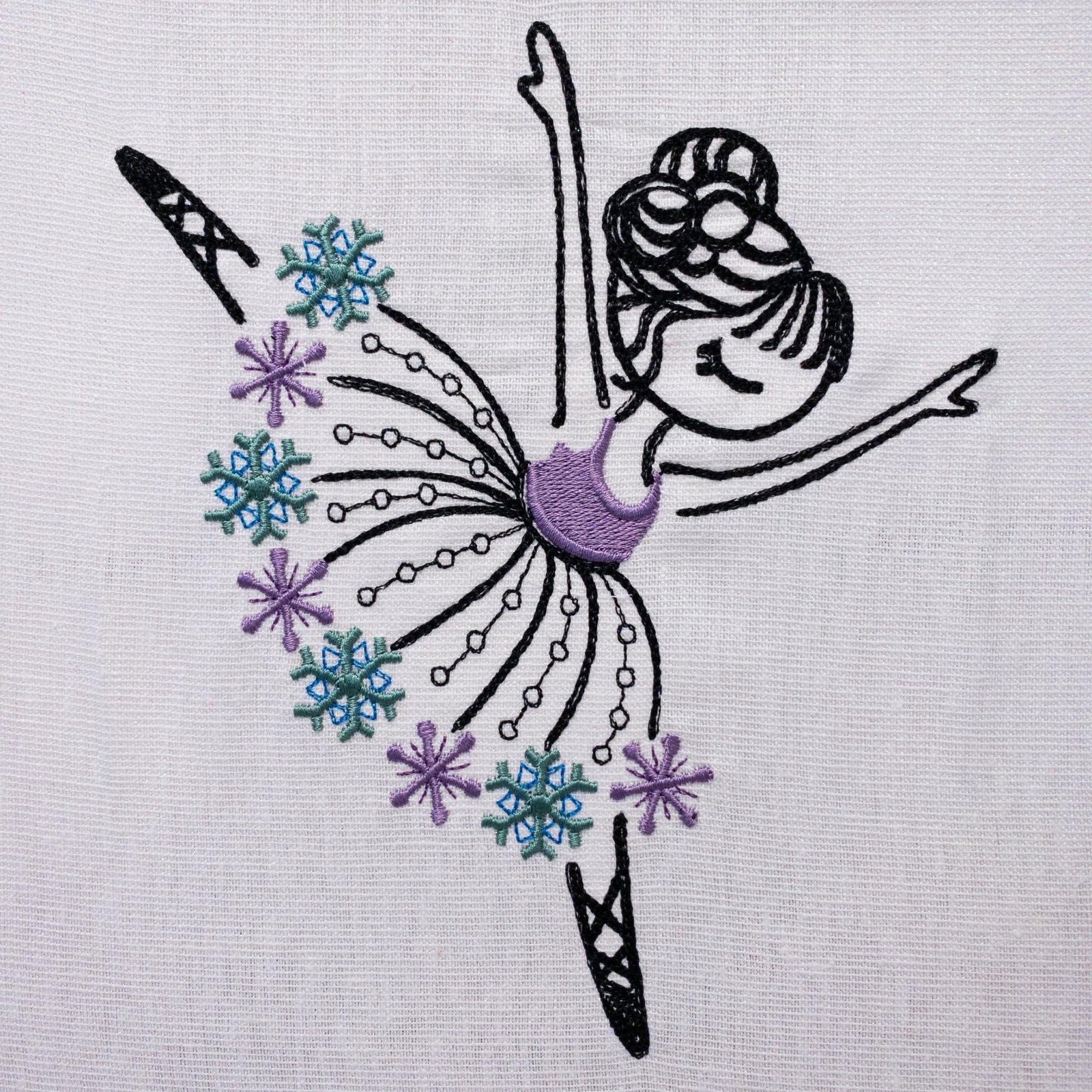 Snowflake Ballerina Embroidered Panel