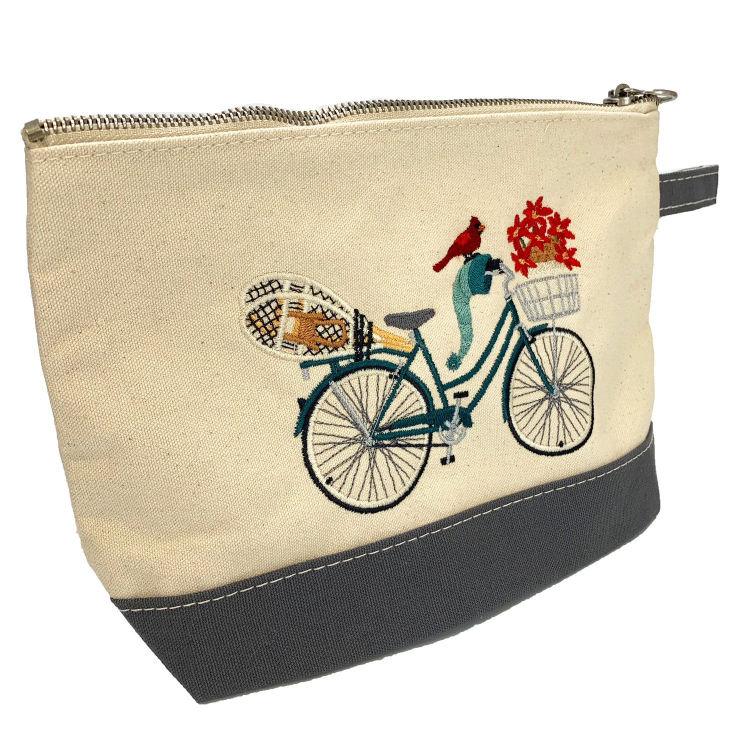 Embroidered Zip Pouch Grey Winter Bicycle