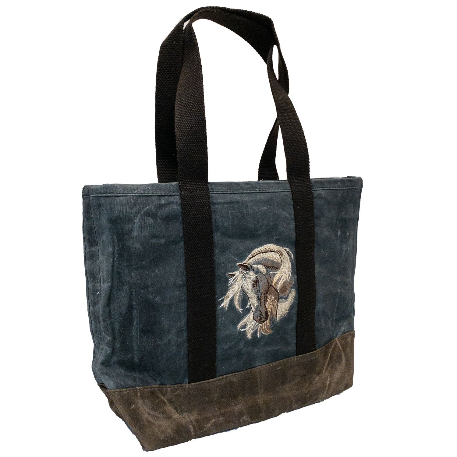 Embroidered Waxed Canvas Tote Stallion