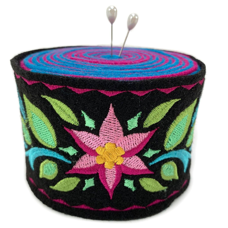 Embroidered Felt Pincushion Starflower