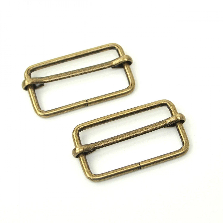 Slider Buckles 2ct 1-1/2in Antique Brass & Gunmetal