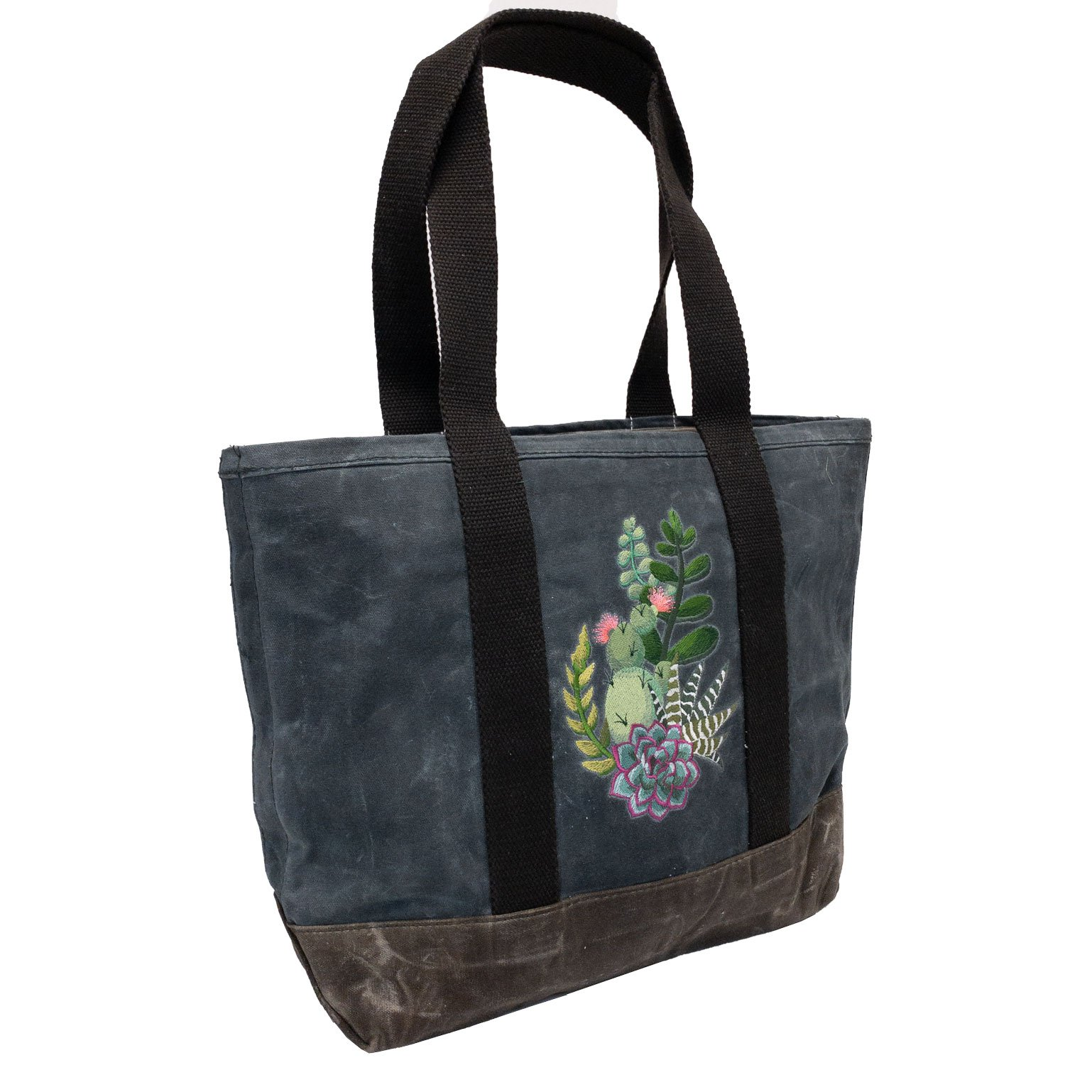 Embroidered Waxed Canvas Tote Succulents