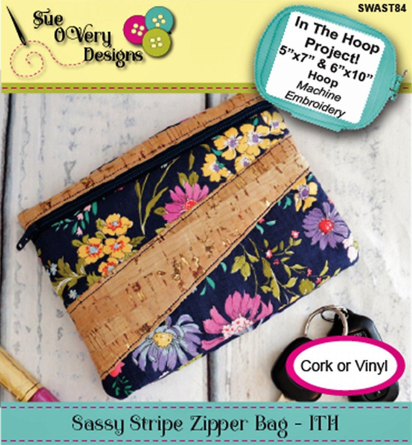 Sassy Stripe Zipper Bag