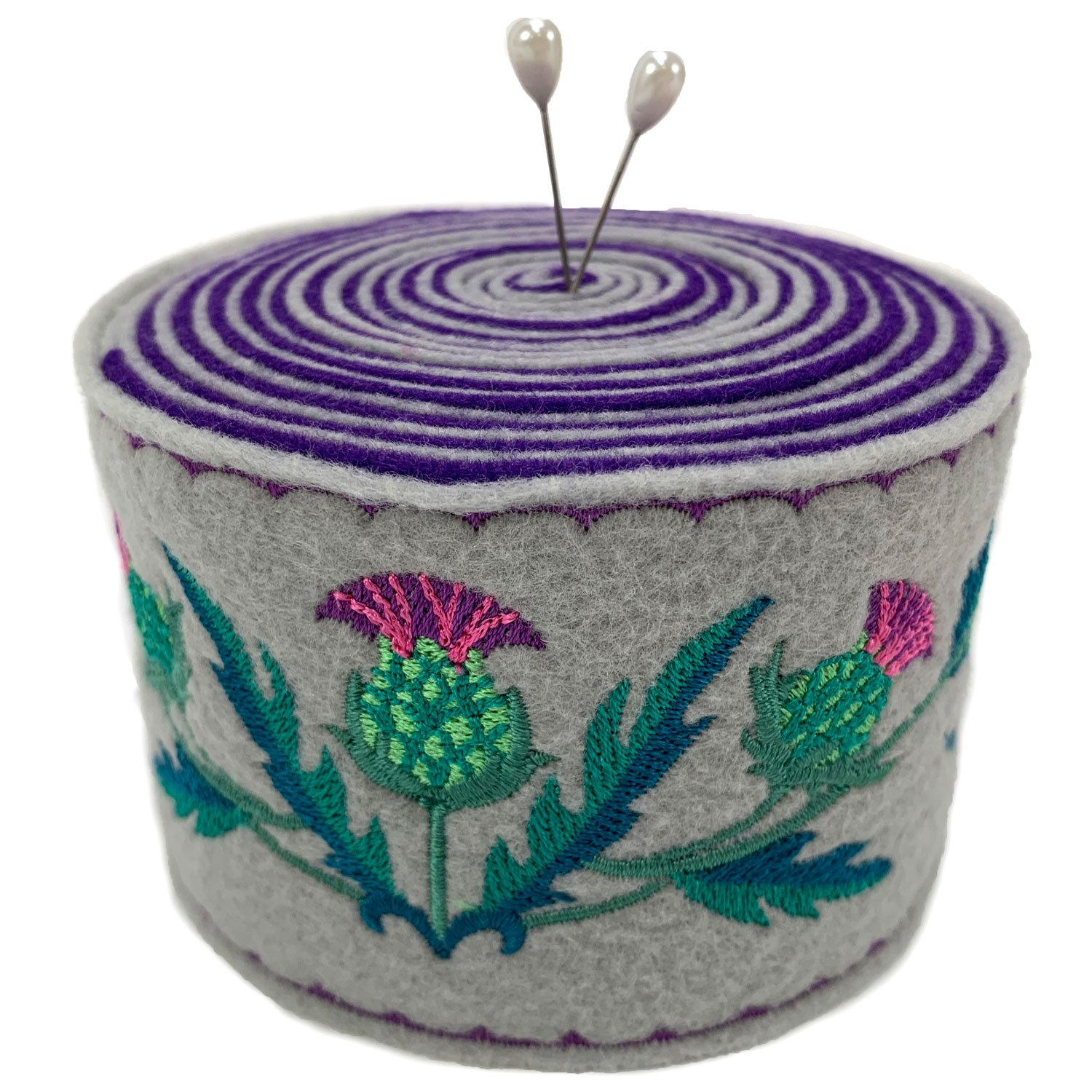 Embroidered Felt Pincushion Thistles
